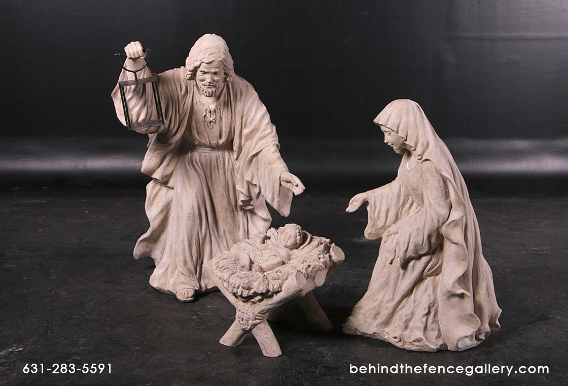 Catholic Nativity Set in Roman Stone Finish