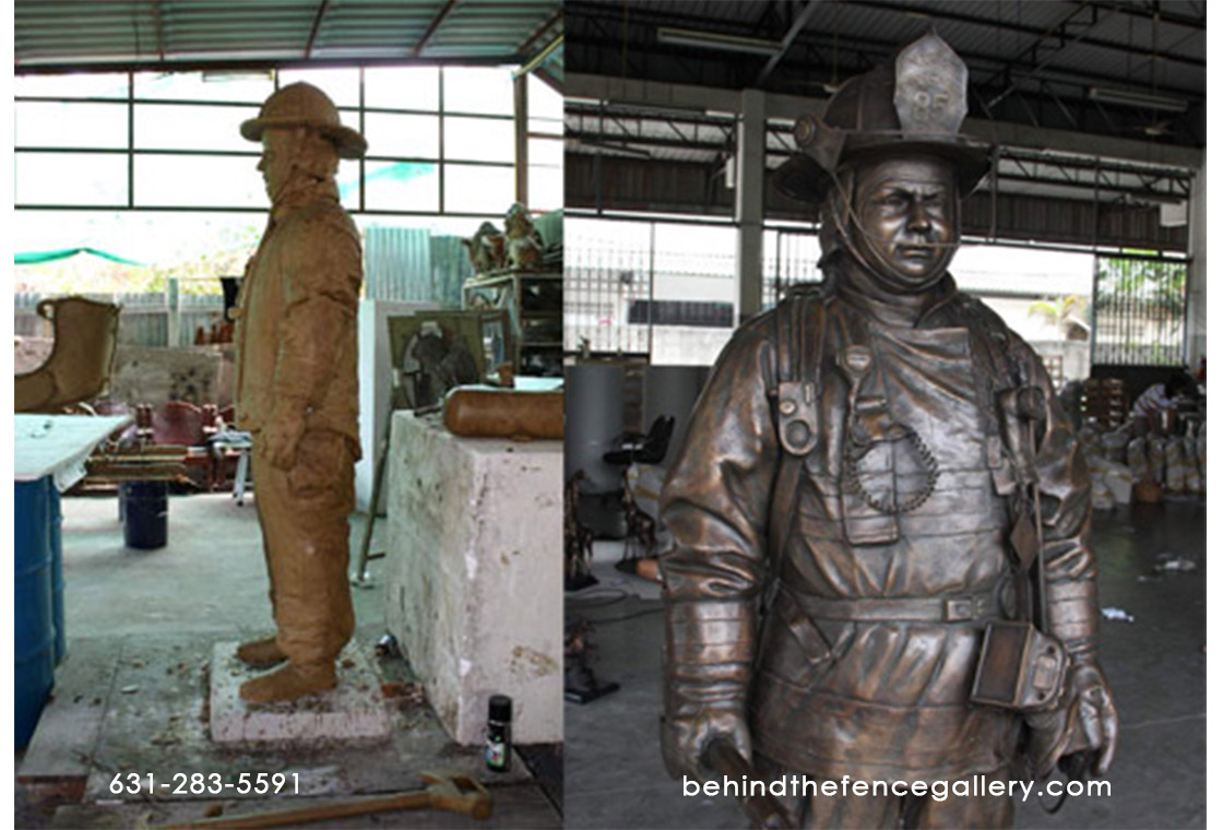 Custom Bronze Fire Fighter Statue
