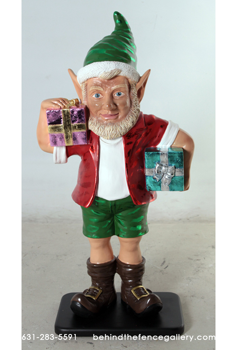 Christmas Elf with 2 Gifts 3ft. Statue