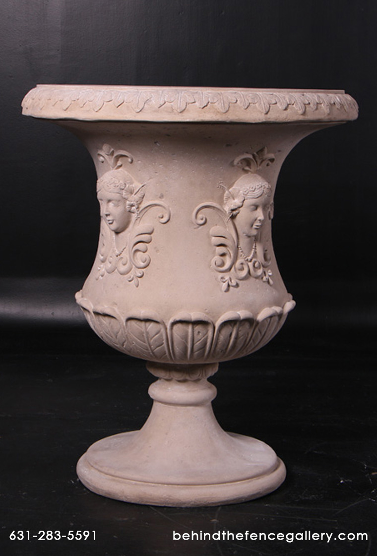 Floral Urn in a Roman Stone Finish