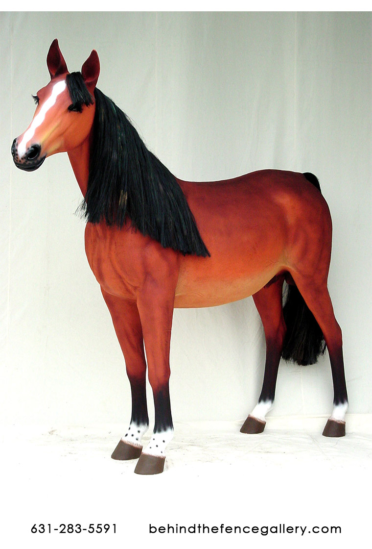 Life Size Horse with Sculpted Mane Statue
