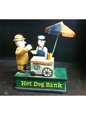 Hot Dog Cast Iron Mechanical Coin Bank