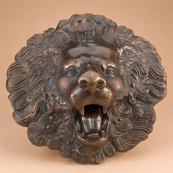 Bronze Lion Face Wall Fountain