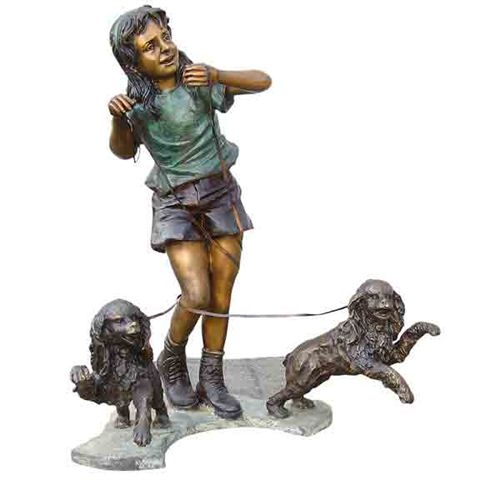 Bronze Girl with 2 Dogs