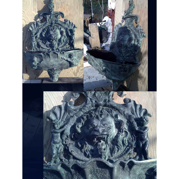 Bronze Lion Head Flat Wall Fountain