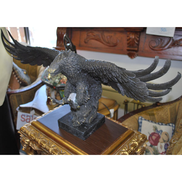 Bronze Eagle with Marble Base