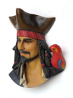 Pirate Head with Bird Wall Decor