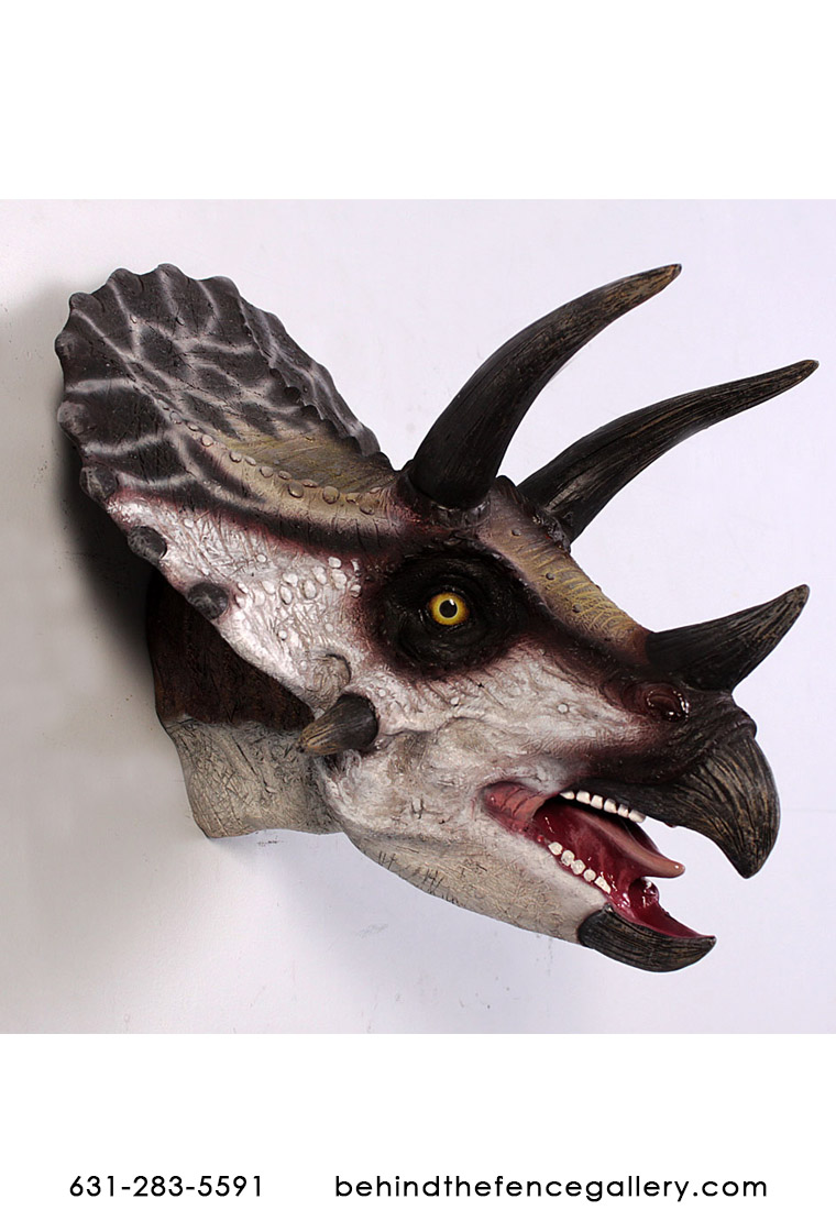 Triceratops Dinosaur Head Wall Mount Statue
